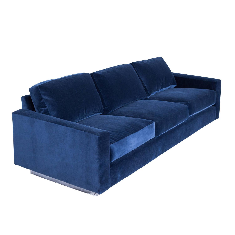 Cy Mann Sofa In Grey Blue Velvet At 1stdibs