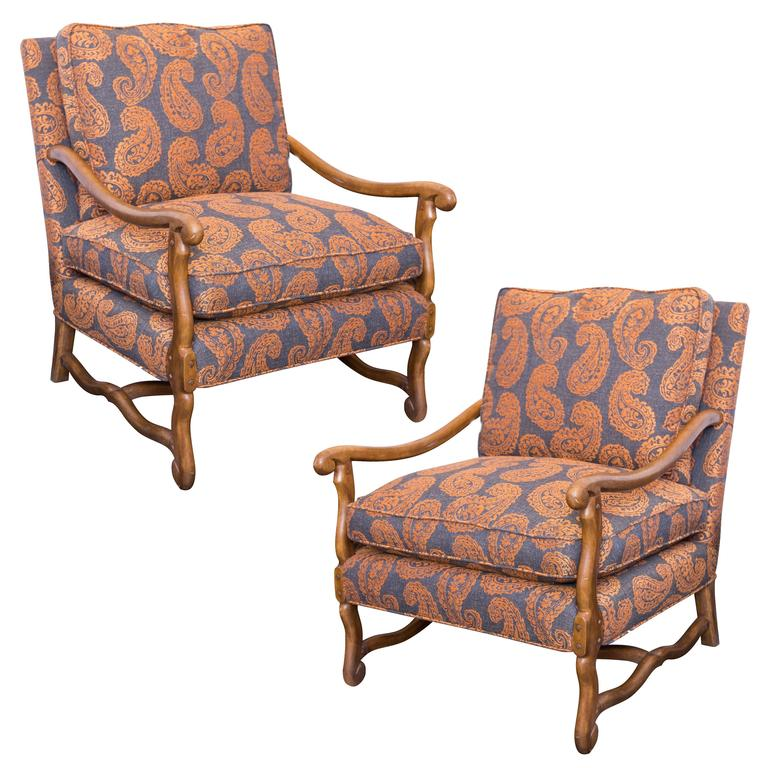 Pair Of French Bergere Chairs In Grey And Orange Paisley
