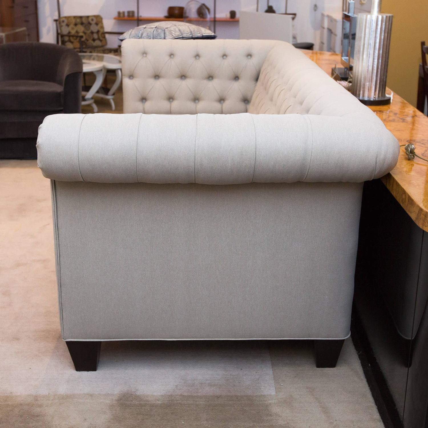 classic chesterfield sofa in grey linen for sale at 1stdibs