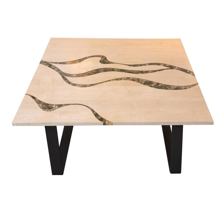 Artisan Made Maple And River Rock Coffee Table For Sale At 1stdibs