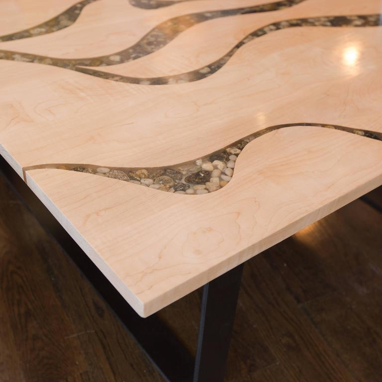 American Artisan Made Maple And River Rock Coffee Table For Sale