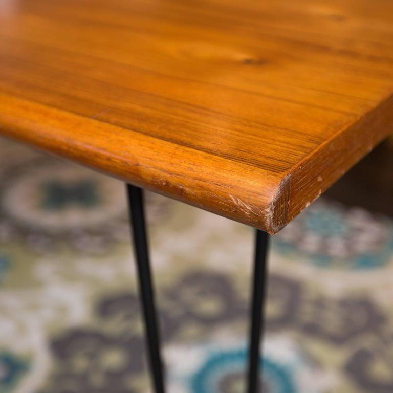 Oak dining table with vintage hairpin legs at 1stdibs for Vintage hairpin table legs