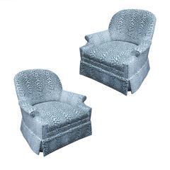 Pair of Kravet Upholstered Lounge Swivel Chairs