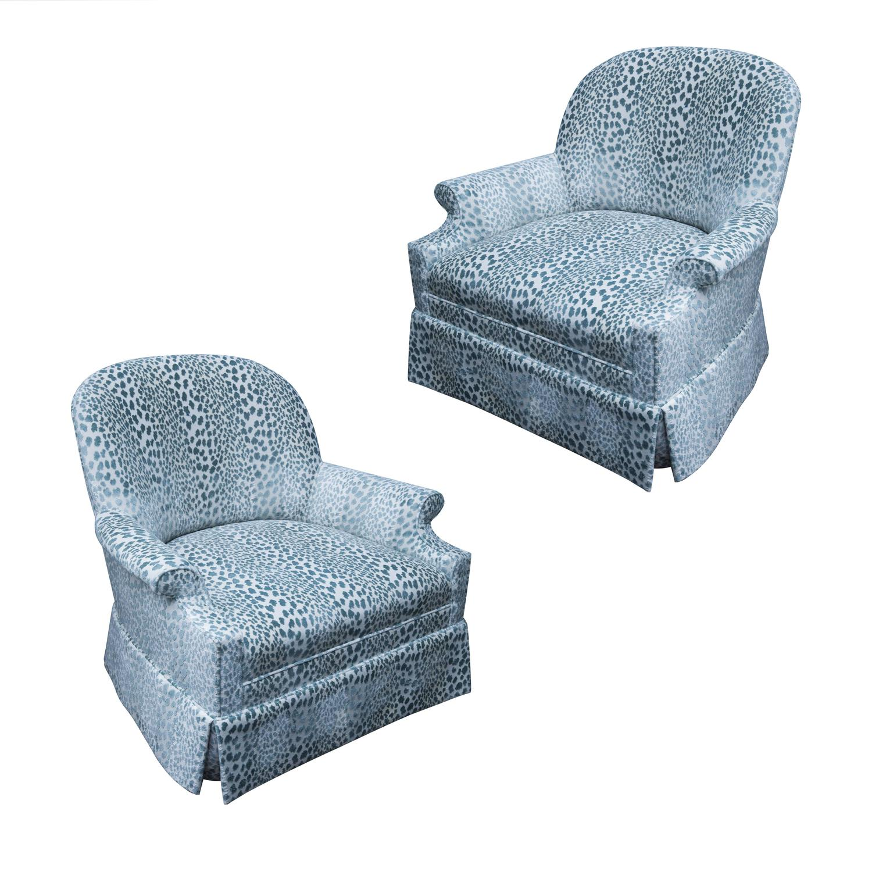 Pair Of Kravet Upholstered Lounge Swivel Chairs For Sale