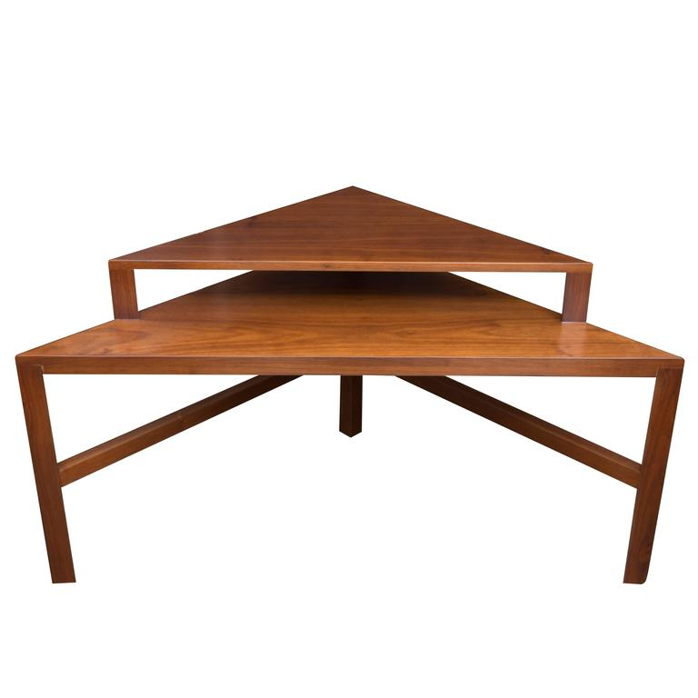 Mid-Century Modern Two-Tiered Triangle End Table For Sale