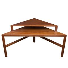 Mid-Century Modern Two-Tiered Triangle End Table