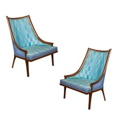 Pair of Hollywood Regency Slipper Chairs