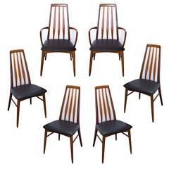 Set of Six Teak Eva Chairs by Niels Koefod for Koefoeds Hornslet