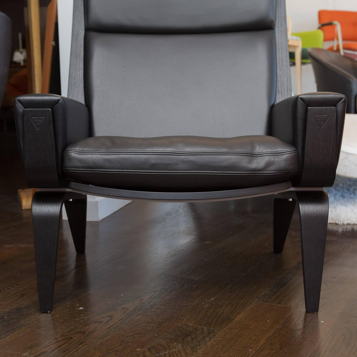 hans wegner ge501a easy chair in black leather at 1stdibs