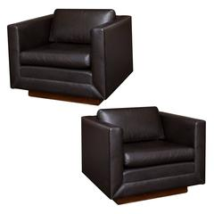 Gunlocke Vintage Leather Club Chairs