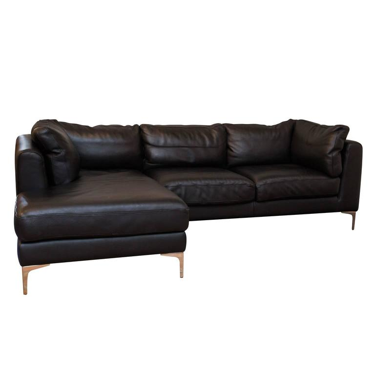 Alberto Leather Sectional From DWR For Sale