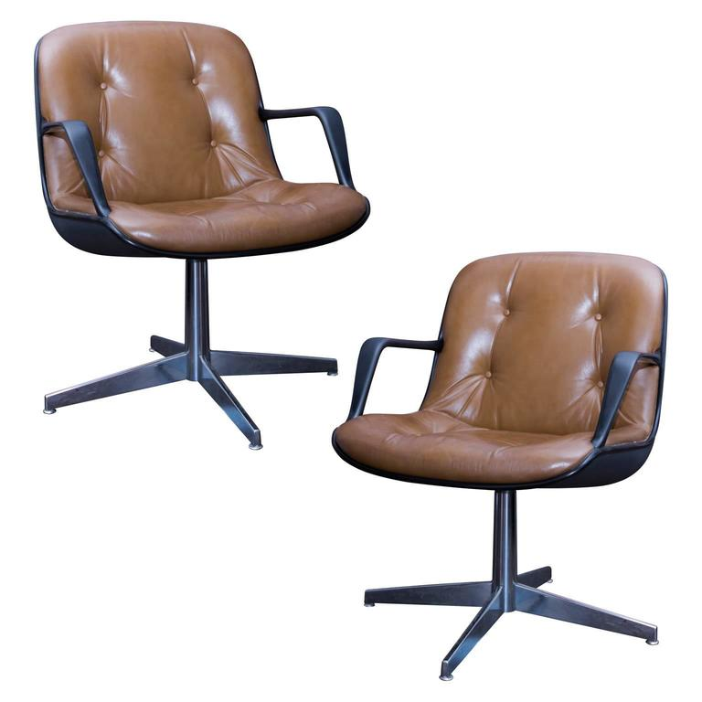 Pair Of Charles Pollock Style Steelcase Brown Leather Executive Chairs For  Sale