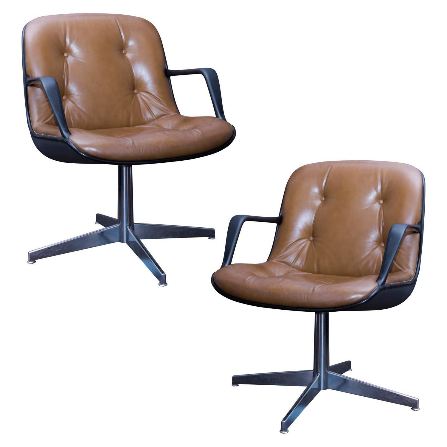Pair of Charles Pollock Style Steelcase Brown Leather Executive