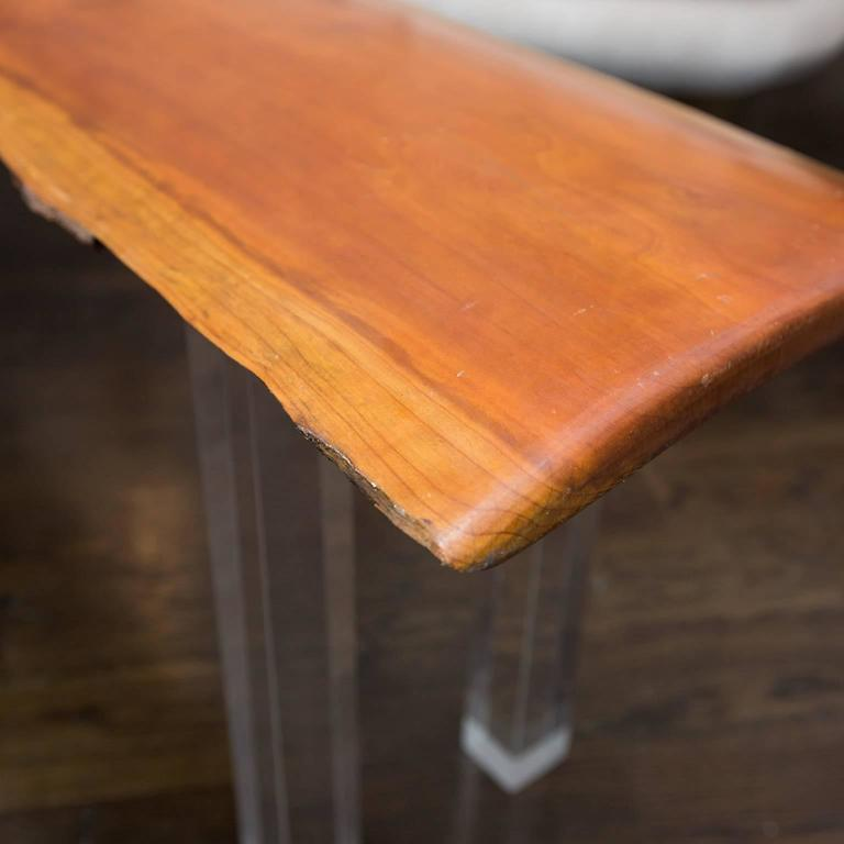 Arts and Crafts Live Edge Bench with Lucite Legs For Sale