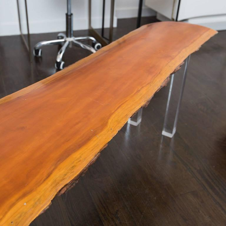 live edge bench with lucite legs for sale at 1stdibs. Black Bedroom Furniture Sets. Home Design Ideas