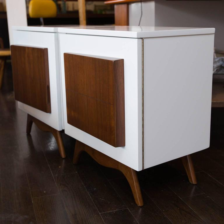 Pair of mid century modern lacquered nightstands for sale for Modern nightstands for sale
