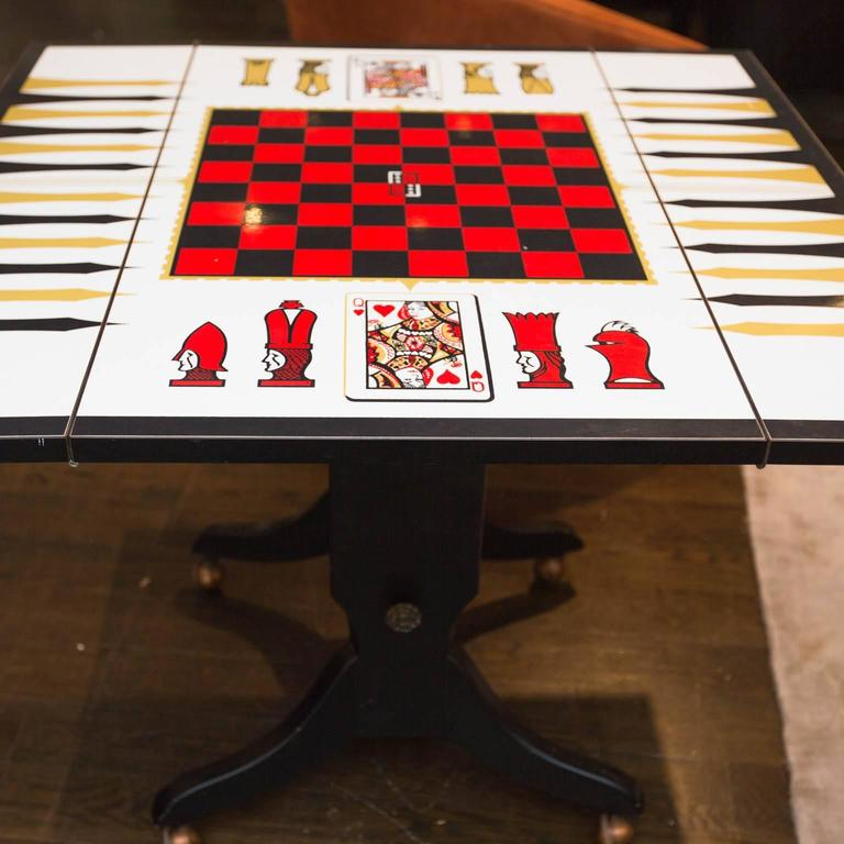 Mid Century Chess Backgammon Game Table Or Coffee Table