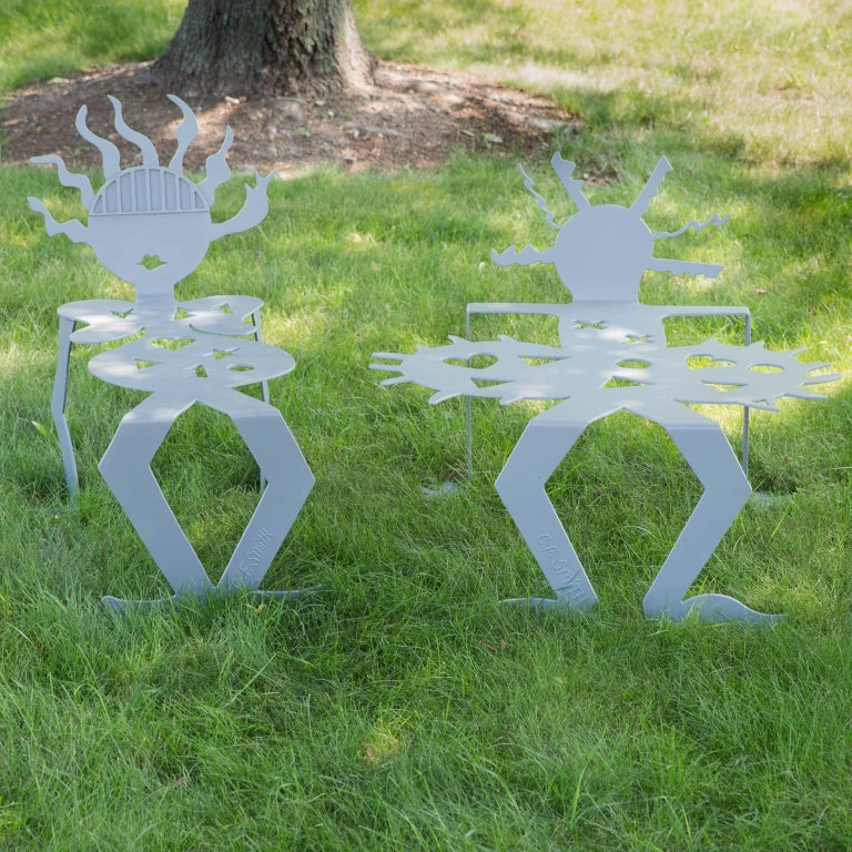 20th Century Steel Sculpture Benches by Cheryl Farber Smith