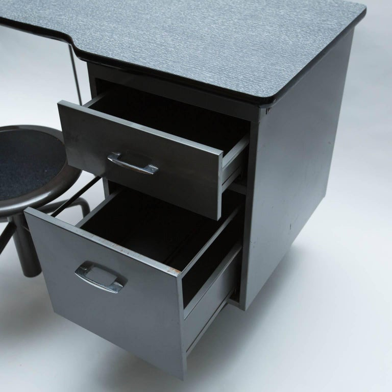 Mid Century Modern Vintage Metal Student Desk And Swivel Chair For