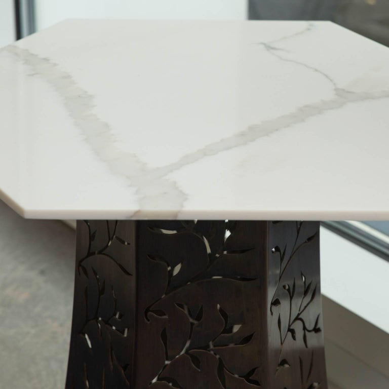 Contemporary Carrara Marble-Topped Side Table by Gregory Clark For Sale
