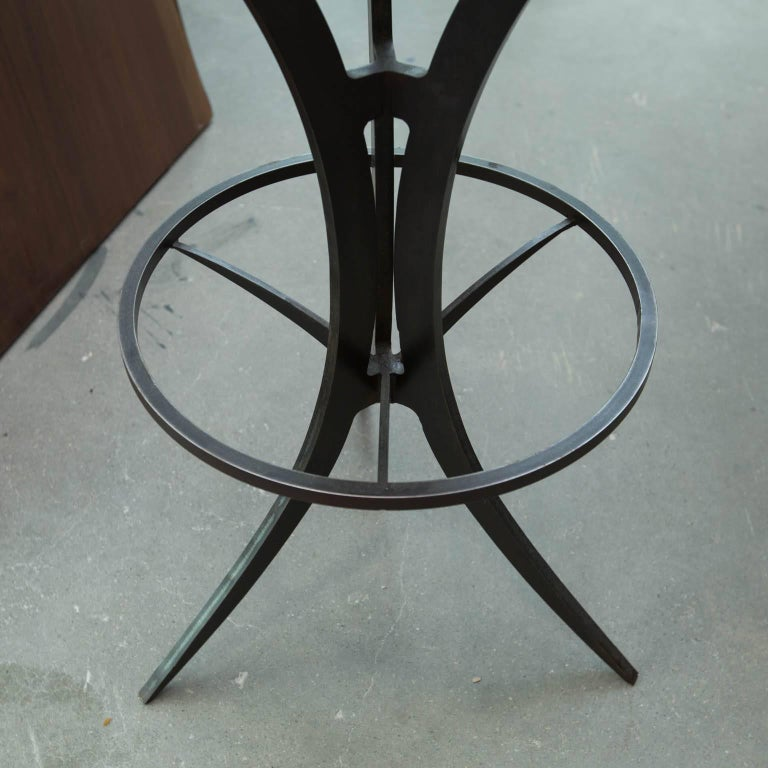 Forged Steel Bar : Zebrawood and forged steel bar stools by gregory clark for
