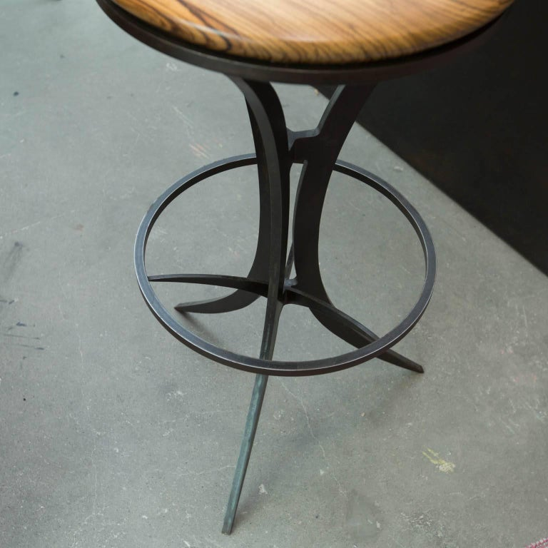 Zebrawood And Forged Steel Bar Stools By Gregory Clark For