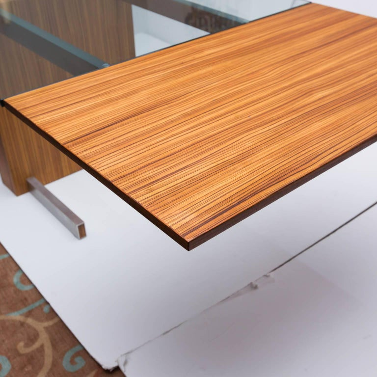Vladimir Kagan Glass Top Extension Table In Zebrano Wood Glass And