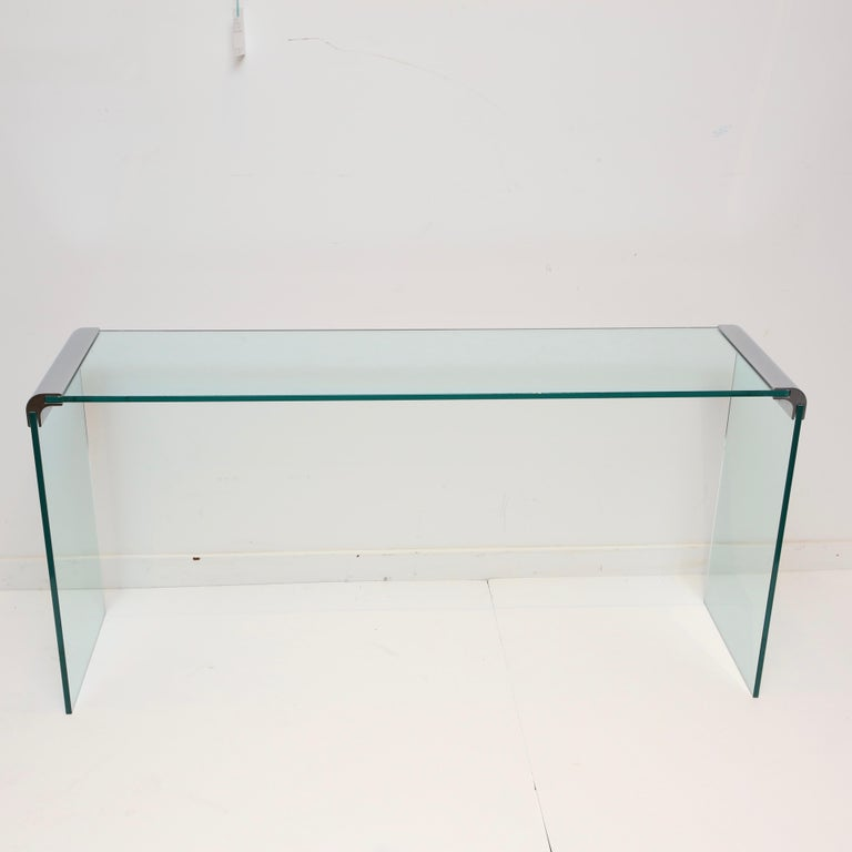 Glass Pace Collection Waterfall Console Table For Sale
