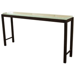 Hand Forged Steel and Cast Glass Console Table by Gregory Clark
