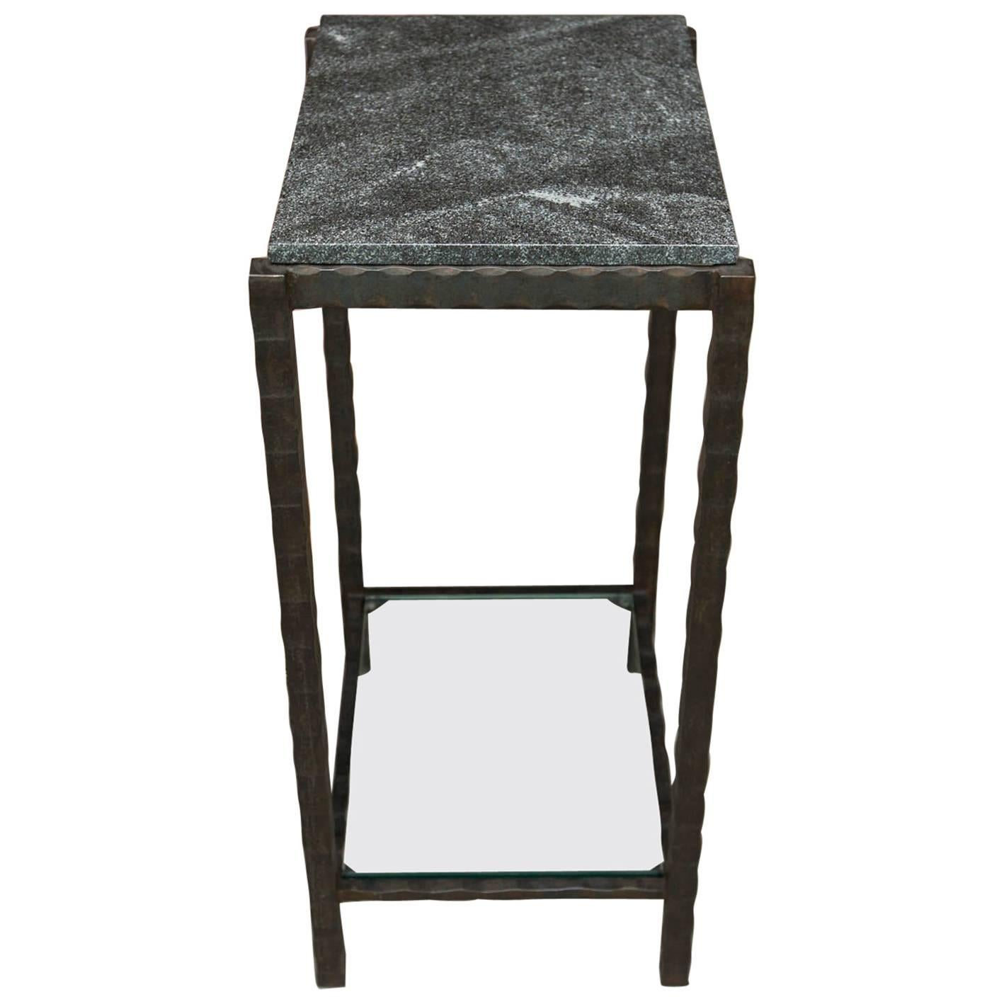 Hand Forged Steel and Granite Side Table by Gregory Clark