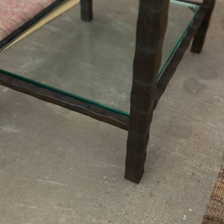Modern Hand Forged Steel and Granite Side Table by Gregory Clark