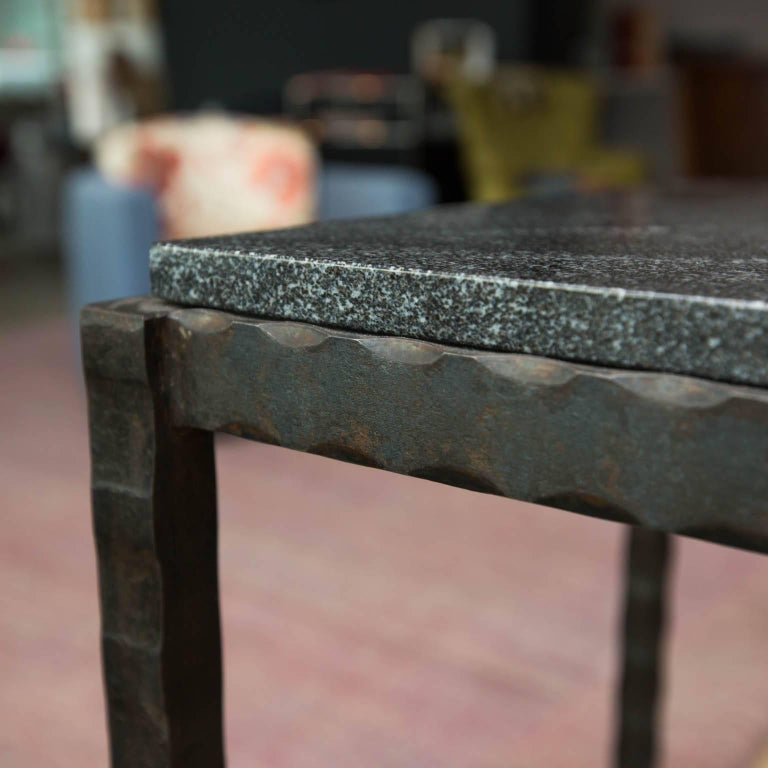 Patinated Hand Forged Steel and Granite Side Table by Gregory Clark