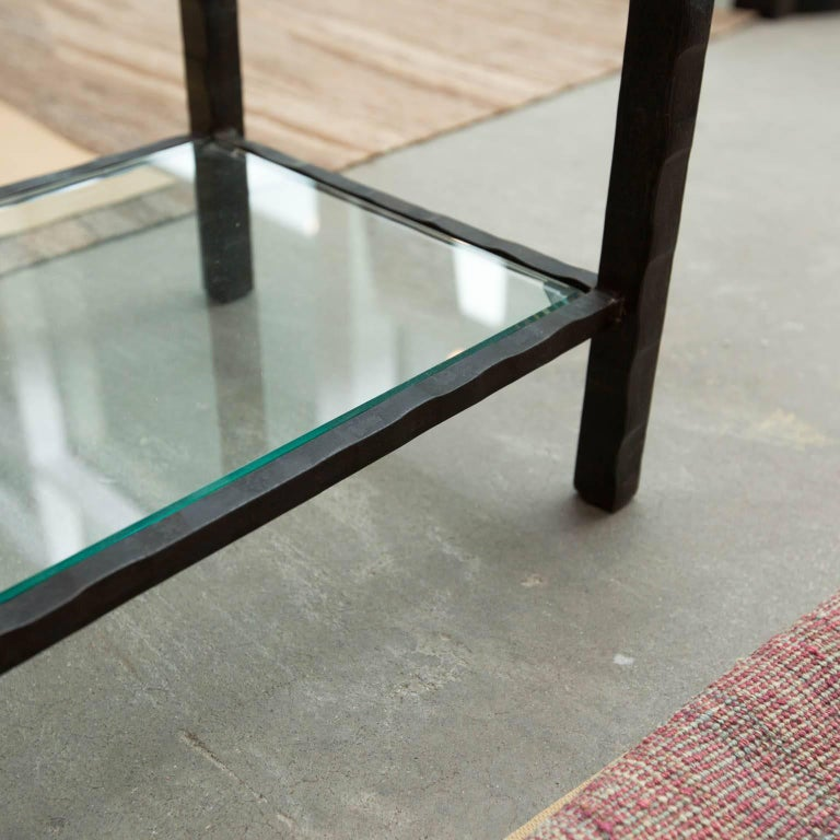 Hand Forged Steel and Granite Side Table by Gregory Clark In New Condition In New London, CT