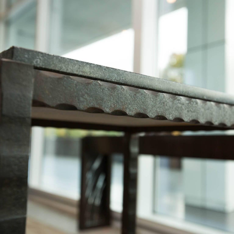 Contemporary Hand Forged Steel and Granite Side Table by Gregory Clark