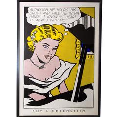 "Roy Lichtenstein Silk-Screened Poster ""Girl at Piano"""