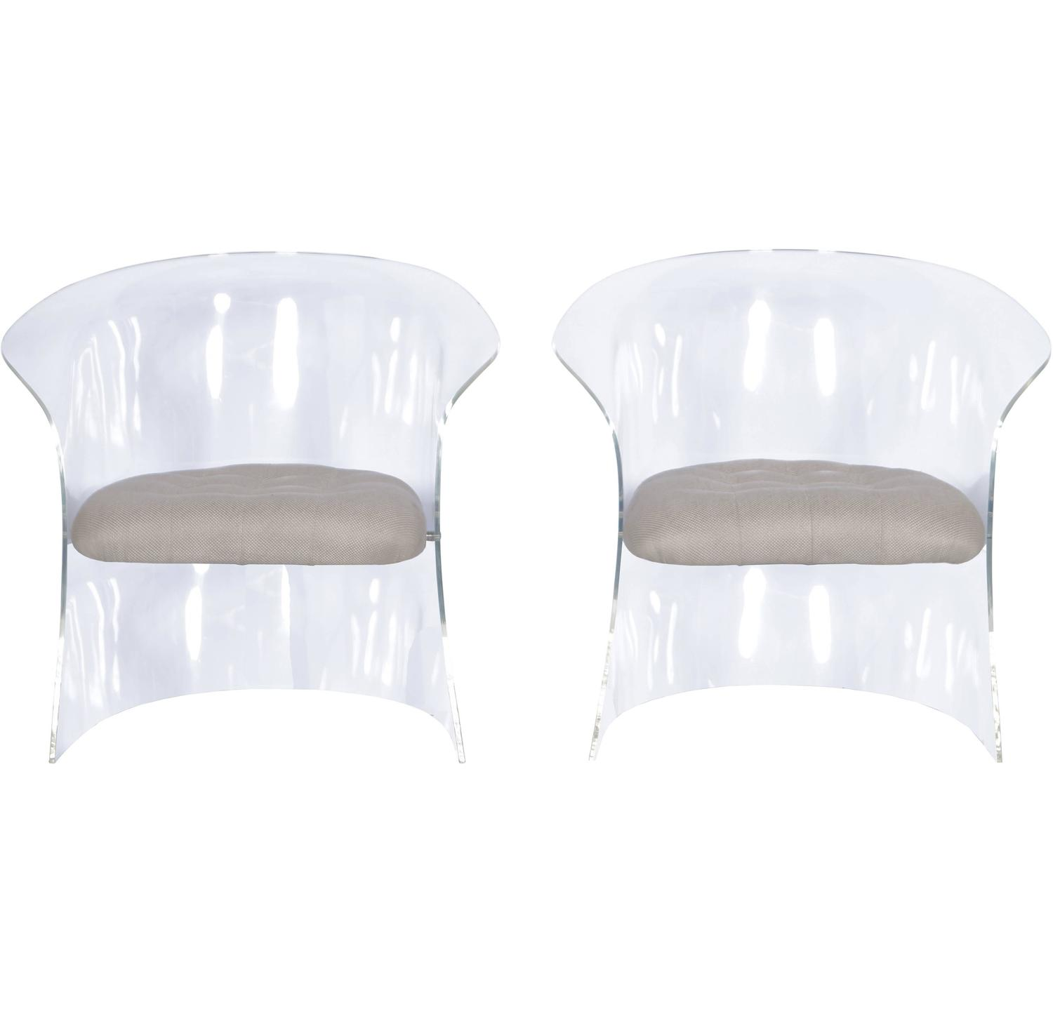 Vintage Flexuous Lucite Chairs at 1stdibs