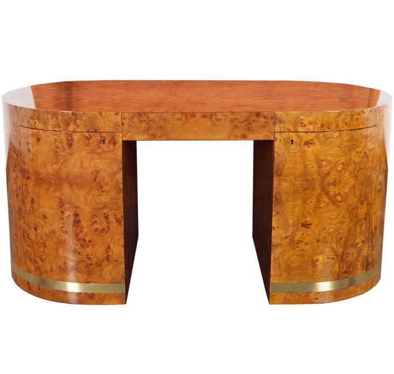 Vintage Burl Wood Desk For