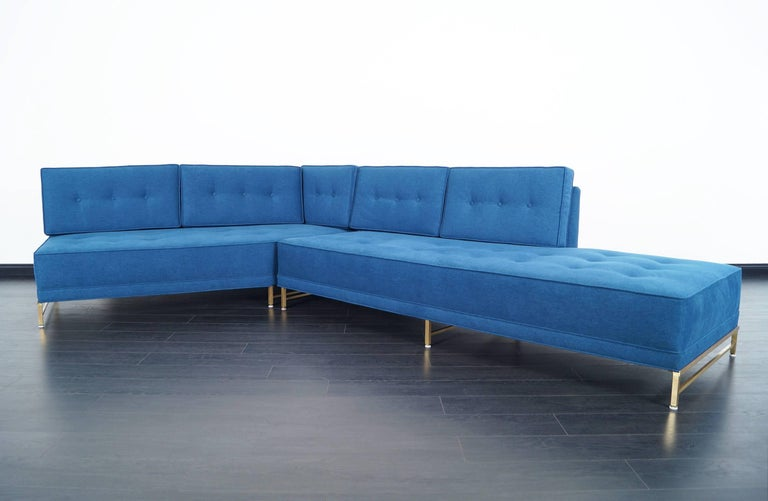 Brass Vintage Sectional Sofa by Paul McCobb for Directional For Sale