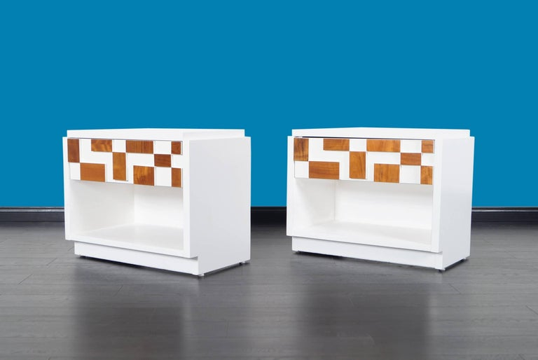 Mid-Century Modern Brutalist Mosaic Nightstands by Lane For Sale