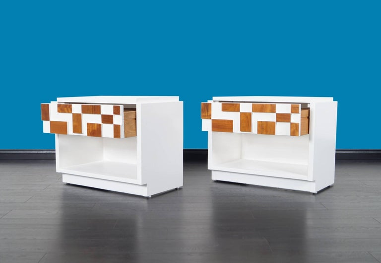 American Brutalist Mosaic Nightstands by Lane For Sale