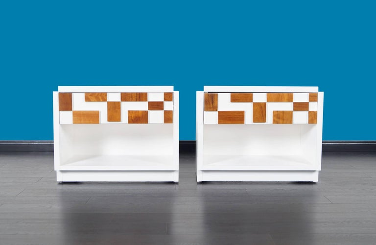 Brutalist Mosaic Nightstands by Lane In Excellent Condition For Sale In Burbank, CA
