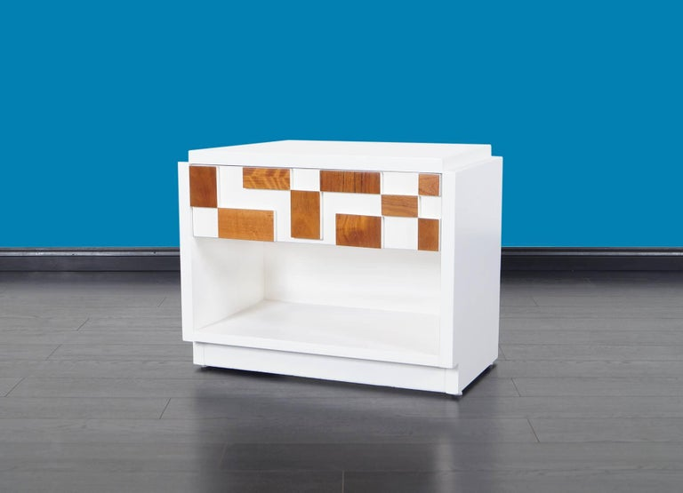 Late 20th Century Brutalist Mosaic Nightstands by Lane For Sale