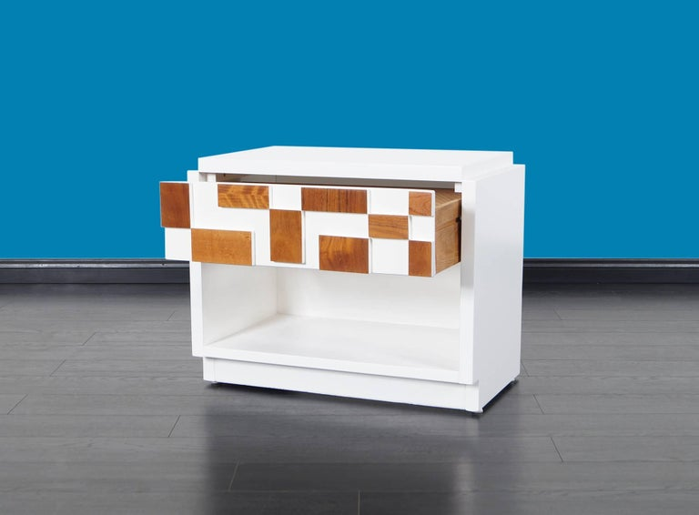 Walnut Brutalist Mosaic Nightstands by Lane For Sale