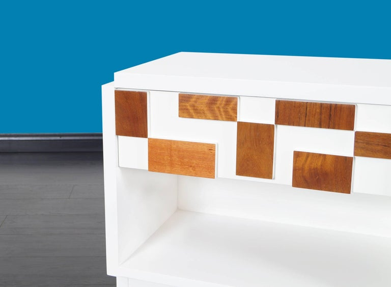 Brutalist Mosaic Nightstands by Lane For Sale 1