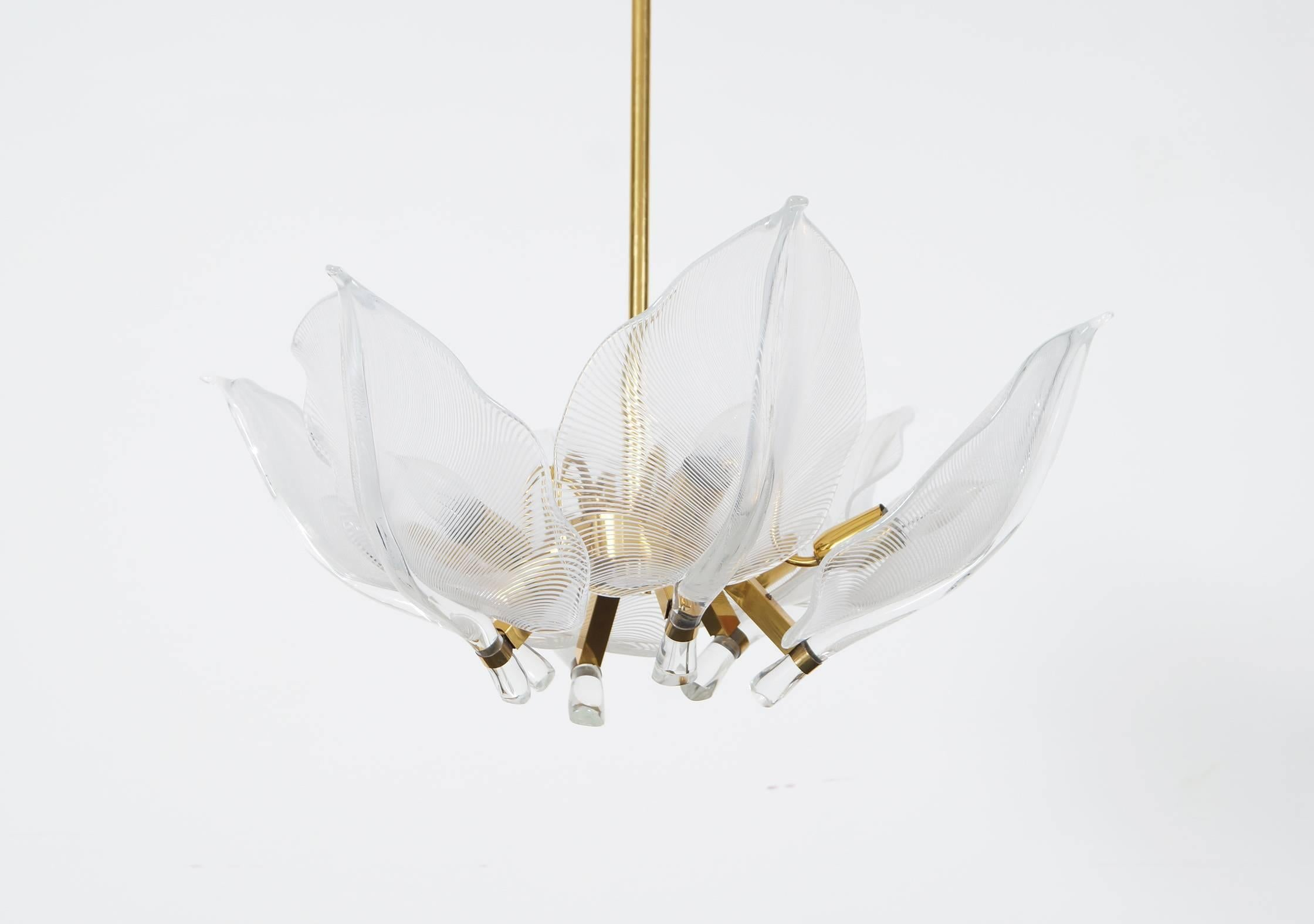 Vintage murano leaf chandelier by franco luce at 1stdibs arubaitofo Choice Image