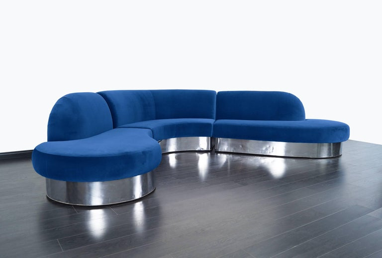 American Vintage Chrome Curved Sectional Sofa by Milo Baughman for Thayer Coggin For Sale