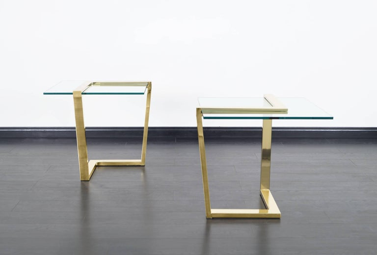 Mid-Century Modern Vintage Brass Cantilevered Side Tables by DIA For Sale