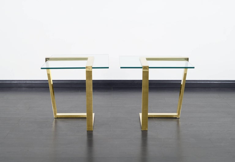 American Vintage Brass Cantilevered Side Tables by DIA For Sale