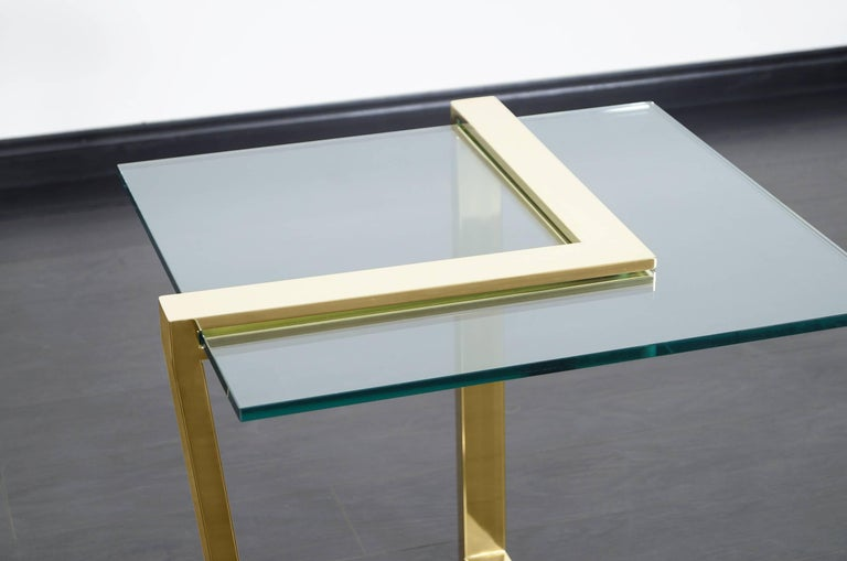 Late 20th Century Vintage Brass Cantilevered Side Tables by DIA For Sale
