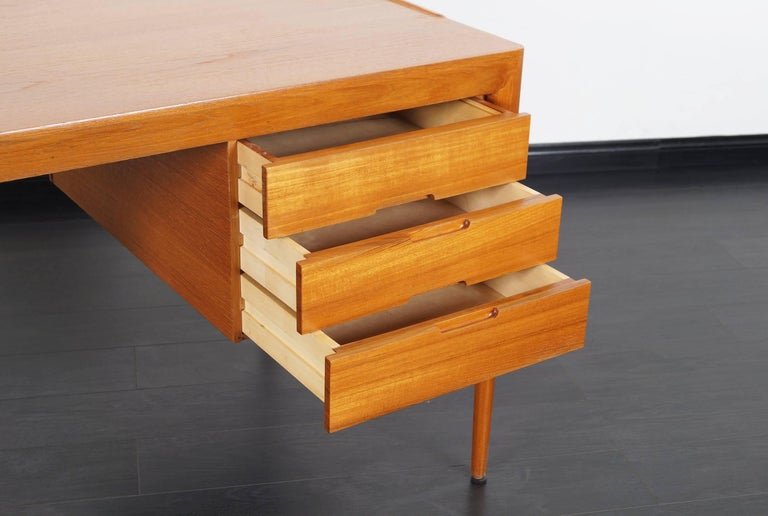 Mid-20th Century Danish Teak Desk by Erik Riisager Hansen  For Sale